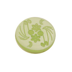 Acrylic Button 2 Hole Engraved 14mm Lime