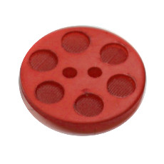 Acrylic Button 2 Hole Indented Circle 12mm Red