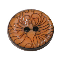 Acrylic Button 2 Hole Engraved 18mm Tangerine