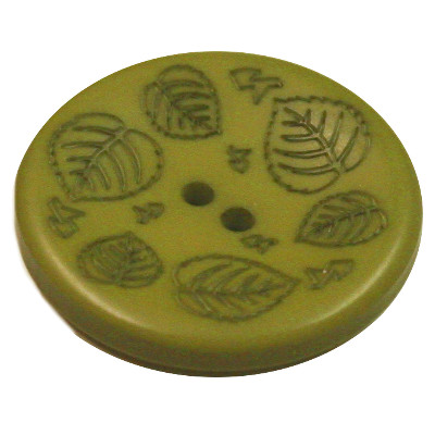 Acrylic Button 2 Hole Mini Leaves Engraved 23mm Grass Green