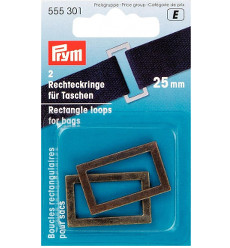 Prym Rectangle Bag Loops 25mm Antique Brass - 2 Pieces