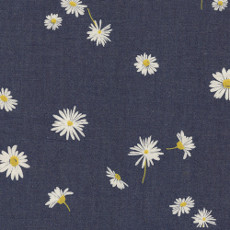 Ragged Daisies Denim Print - Art Gallery Fabric 58in/59in Per Metre, 100% Cotton, 4.5 Oz/sqm