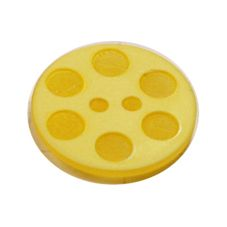 Acrylic Button 2 Hole Indented Circle 12mm Citron