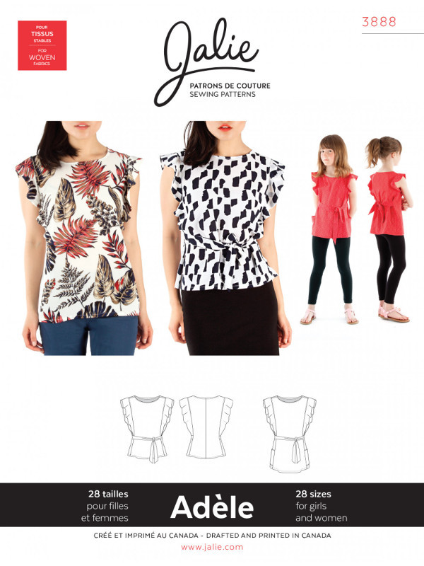 Adele Flutter Sleeve Top And Tunic Pattern - Jalie Patterns