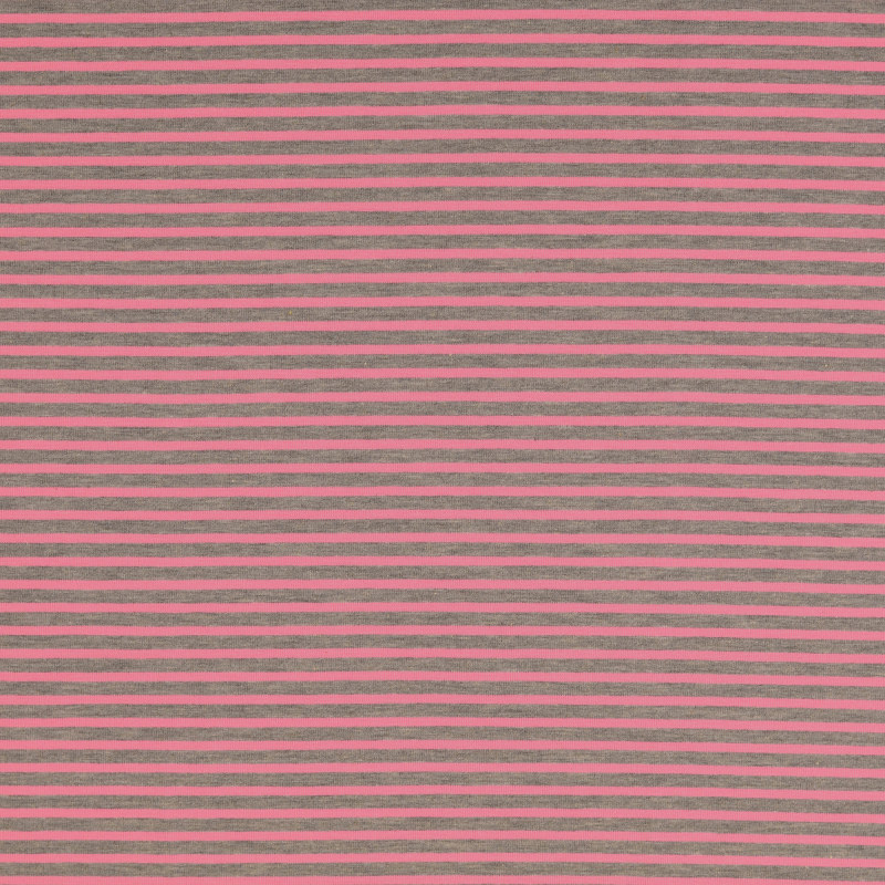 Nantes Pink and Grey Striped Knit Fabric