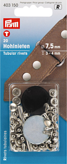 Prym Tubular Rivets 7.5mm (3-4mm Thickness) Silver Coloured - 20 Pieces
