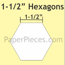 1-1/2in Hexagons Small Pack 50 Pieces - Paper Piecing