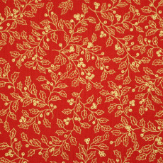 Christmas 140cm Wide/metre - Gold Holly On Red - 930