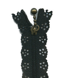 Lace Zip 20cm Length - Black