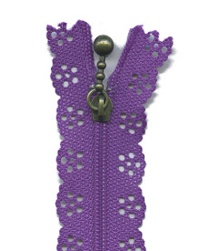 Lace Zip 20cm Length - Purple