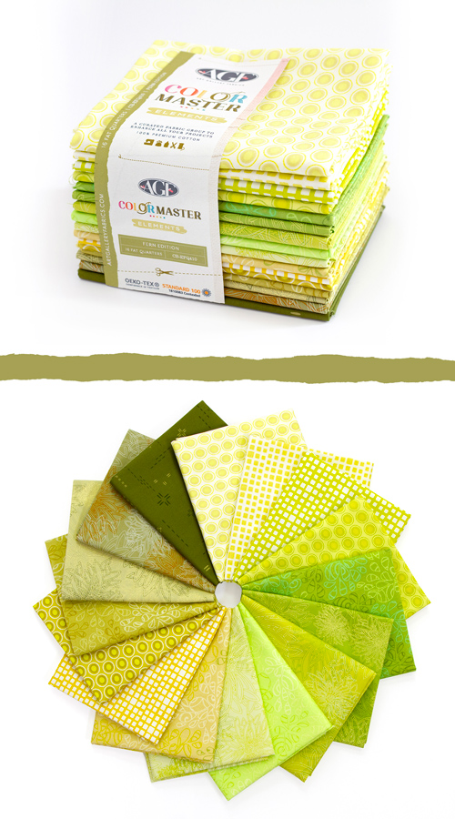 Color Master Elements Fern Edition 16 Pieces Fat Quarter Bundle