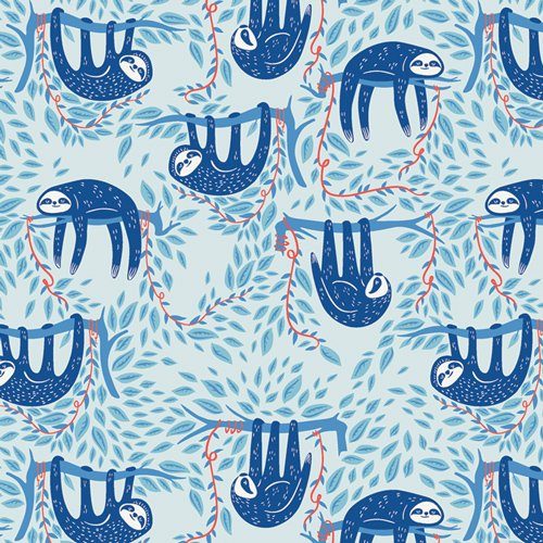 Swaying Sloths Sky Cotton From Selva By AGF Studio