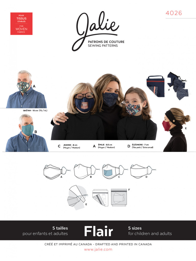 Flair Face Masks and accessories Pattern by Jalie