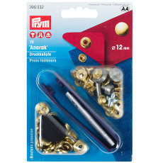 Prym Non-sew Press Fasteners 12mm Brass Gold Coloured - 10 Pieces
