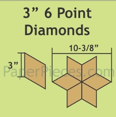 3in 6 Point Diamond Small Pack 50 Pieces - Paper Piecing