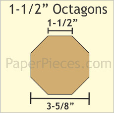 1.5 Inch Octagons 16 Pieces - Paper Piecing