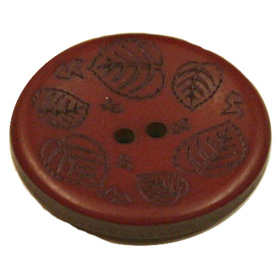 Acrylic Button 2 Hole Mini Leaves Engraved 23mm Brick Brown