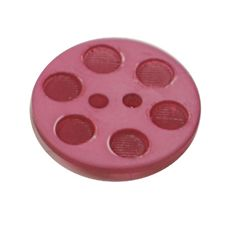 Acrylic Button 2 Hole Indented Circle 18mm Raspberry