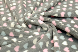 Pastel Hearts On Grey - Deluxe Plush Printed Fleece 148cm / 58in Per Metre
