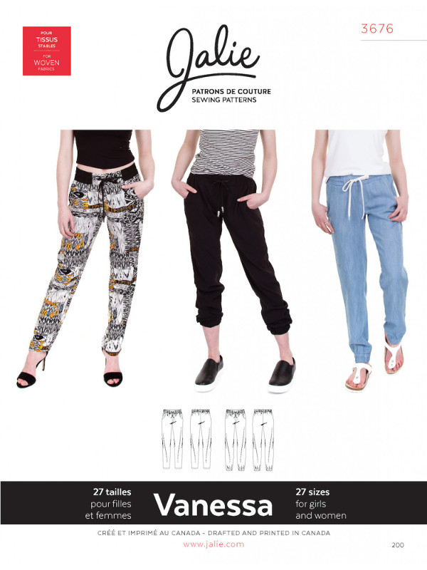 Vanessa Fluid Pants Pattern - Jalie Patterns