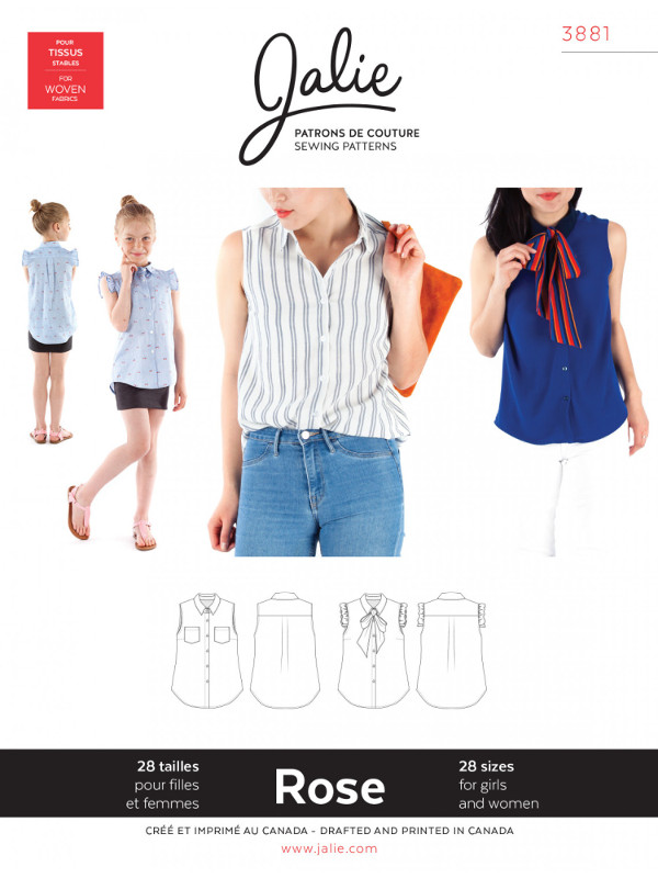 Rose Sleeveless Button-Down Shirt Pattern - Jalie Patterns