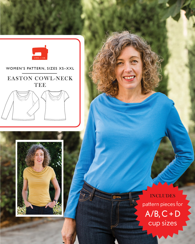 Easton Cowl Neck Tee Pattern by Liesl + Co