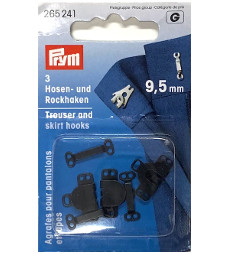 Prym Trouser And Skirt Hooks And Bars 9.5mm Black Colour
