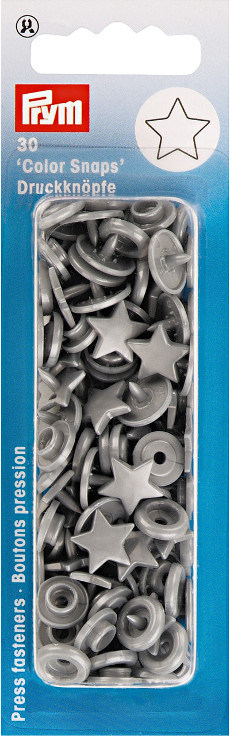 Prym Silver Grey Star Non-sew Colour Snaps - 12.4mm 30 Pieces