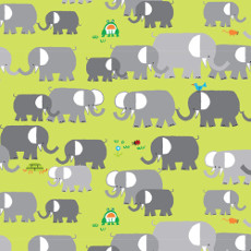 Elephants Green - Cloud 9 Laminate 100% Cotton Fabric With Pu Coating 58in / 147cm Per Metre