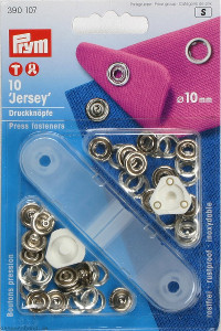 Prym Non-sew Press Fasteners Jersey 10mm Silver - 10 Pieces Brass Rustproof