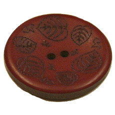 Acrylic Button 2 Hole Mini Leaves Engraved 28mm Brick Brown