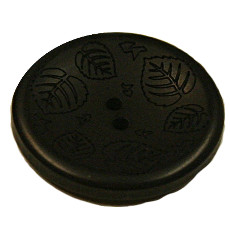 Acrylic Button 2 Hole Mini Leaves Engraved 28mm Black