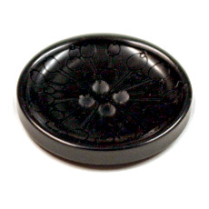 Acrylic Button 4 Hole Seed Head Engraved 28mm Black