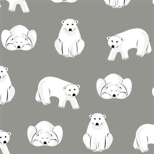 Polar Bears - Dark Gray Flannel From Northerly By Cloud9 Fabrics
