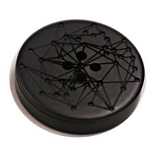 Acrylic Button 4 Hole Engraved 12mm Black