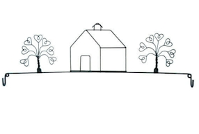 School House And Tree 22in Wire Hanger