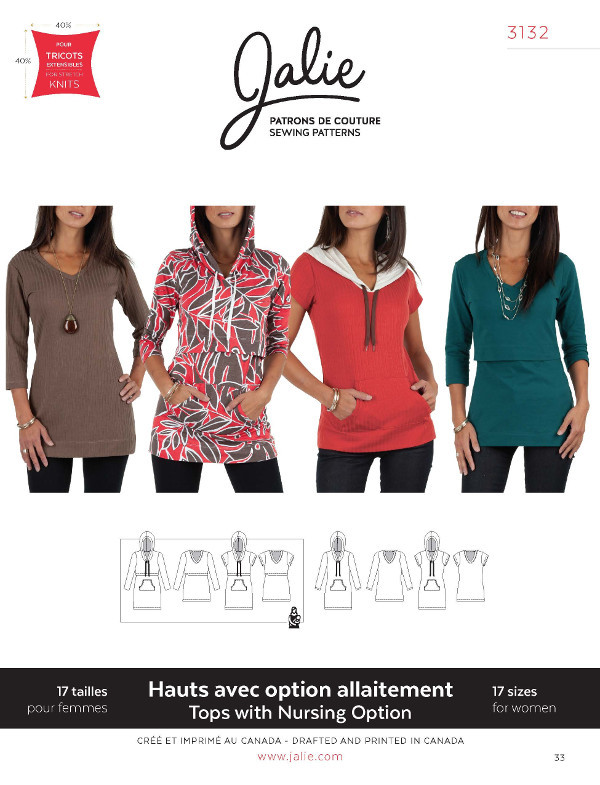 Nursing Tee And Hoodie Pattern - Jalie Patterns