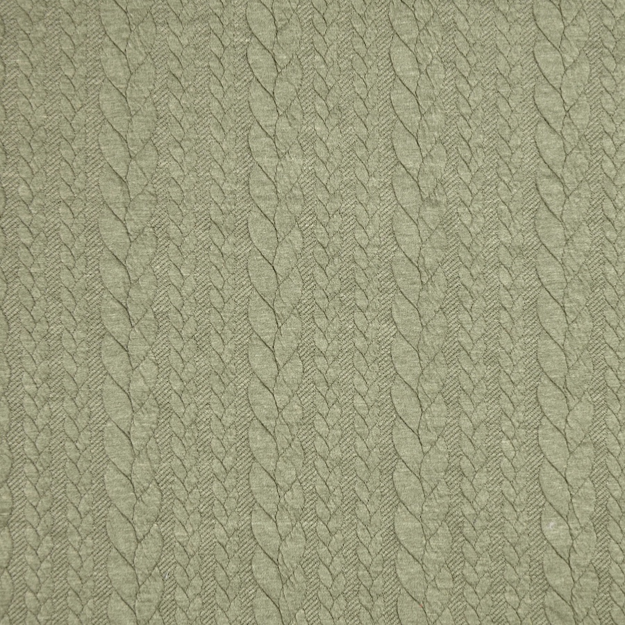 Barso Olive Heathered Cable Jacquard Knit Fabric
