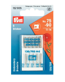 Prym Sewing Machine Needles Sys. 130/705 Embroidery 75/90 5pcs