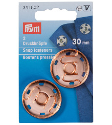 Prym Sew-On Snap Fasteners 30 mm Rose Gold on Brass 2 Pieces