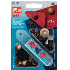 Prym Non-sew Press Fasteners 15mm Brass Antique Brass - 10 Pieces