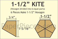 1.5 Inch Hex Kite Small Pack 150 Complete Pieces - Paper Pieces