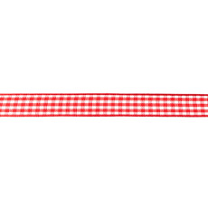 Red Gingham Ribbon - 10mm X 47.5m