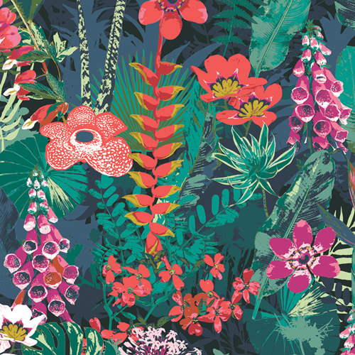 Lush Rainforest in Cotton from Boscage by Katarina Rocella for AGF