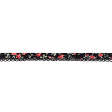 Black Red Floral Crochet-edged Poplin Bias Binding Double Fold - 15mm X 25m