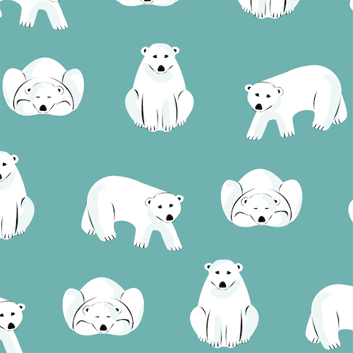 Polar Bears - Dark Turquoise Flannel From Northerly By Cloud9 Fabrics