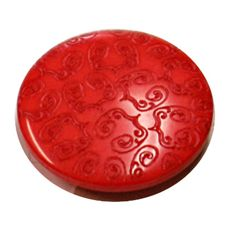 Acrylic Shank Button Embossed 20mm Bright Red