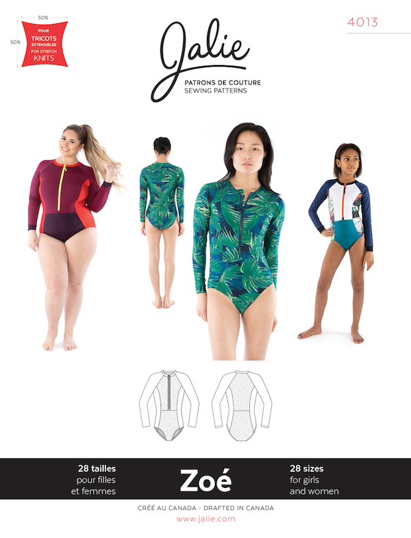 Zoe Long Sleeve Front Zip Swimsuit Pattern by Jalie