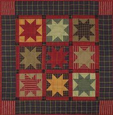 Miniature Quilt Kit - Homespun Stars 22in X 22in