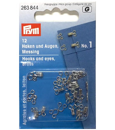 Prym Hooks And Eyes Brass Size 1 Silver Colour